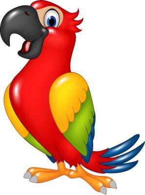Sticker Cartoon drôle perroquet isolé sur fond blanc