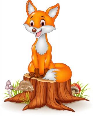 Sticker Cartoon, heureux, renard, séance, arbre, souche