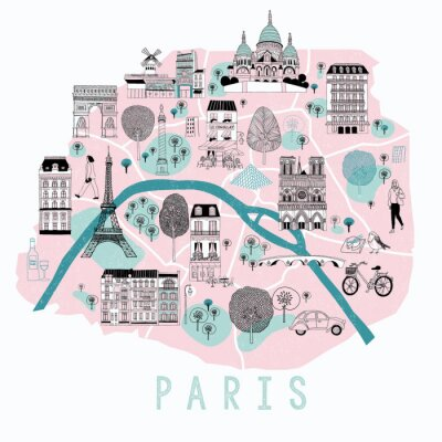 Sticker Cartoon Map of Paris with Legend Icons. Print Design