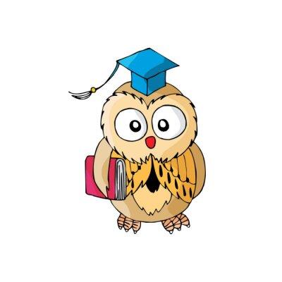 Sticker Cartoon Owl est intelligent