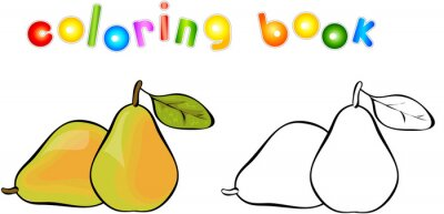 Sticker Cartoon pear coloring book