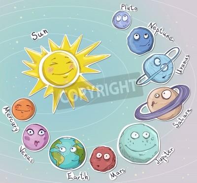 Sticker Cartoon planètes du système solaire Vector illustration