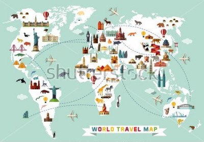 Sticker Cartoon world map with animal and sightseeing attractions. Vector Illustration.