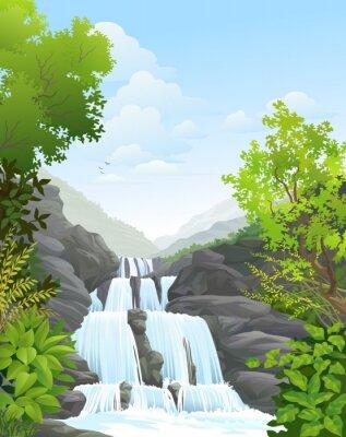 Sticker Cascade dans la forêt tropicale humide