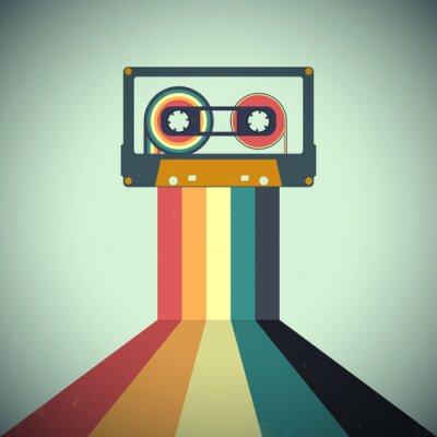 Sticker Cassettes music retro style. Vector illustration