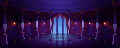 Sticker Castle ballroom, night empty palace hall interior with glowing lamps, floor-to-ceiling window and curtains. Room with marble pillars and tiled floor, antique architecture. Cartoon vector Illustration
