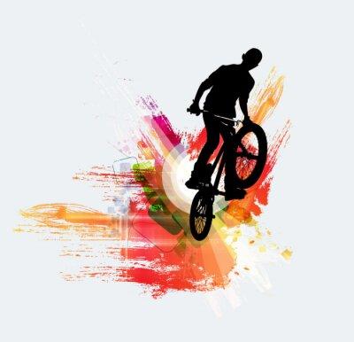 Sticker Cavalier de bicyclette, fond de sport