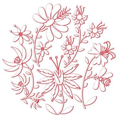 Sticker Célébration folk jour et broderie découpe inspirée par la forme ronde de la culture européenne orientale en blanc avec des éléments floraux avec course rouge avec effet 3D
