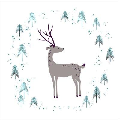 Sticker Cerfs dans la forêt de pins d'hiver isolé sur blanc.