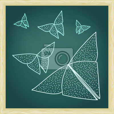 Chalkboard with drawing of origami butterflies