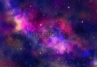 Sticker Champ d'étoiles dans l'espace de la galaxie avec la nébuleuse, aquarelle abstraite peinture numérique pour la texture de fond