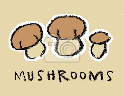Champignons sur fond brun