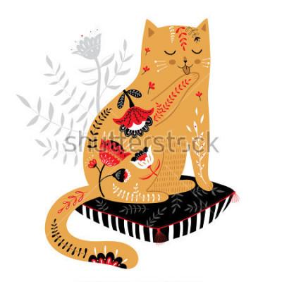 Sticker chat dessiné principal mignon