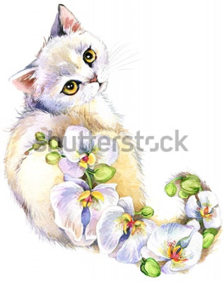 Sticker Chat. Illustration aquarelle de fleur.