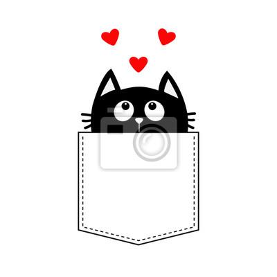 Sticker Chat Noir Dans La Poche En Regardant Jusquà Trois Ensemble Coeur