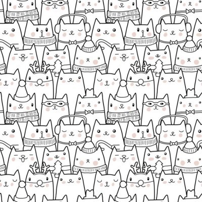 Sticker Chats de Noël seamless pattern