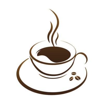 Sticker Chaud, café, tasse, vecteur