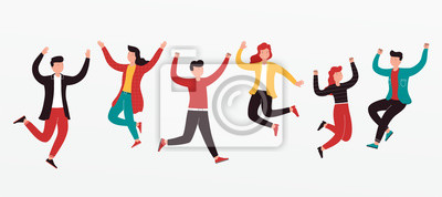 Sticker Cheerful group of diverse young people team jumping celebrating a victory. Concept of happy successful people in casual wear.