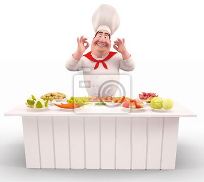 Chef avec des légumes sur la table