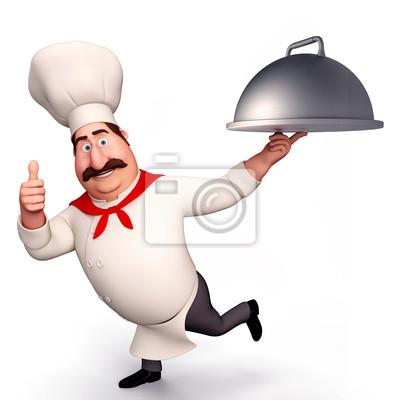 Chef avec grand plat dans sa main