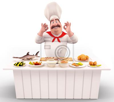 Chef avec la viande et le poisson sur la table