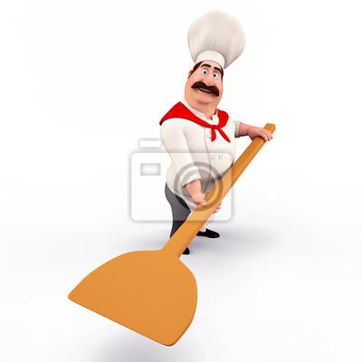 Chef portant une pizza pelle