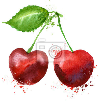 Cherry vector logo design template. fruit or food icon.