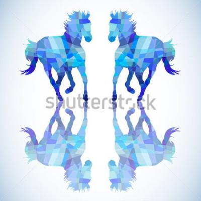 Sticker Cheval abstrait bleu de formes géométriques