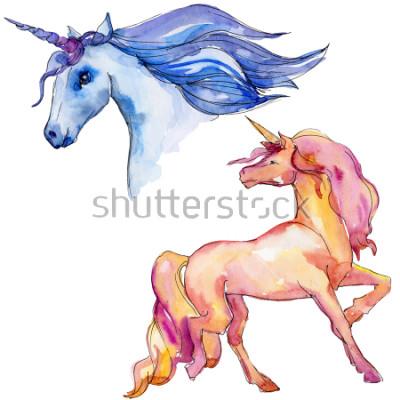 Sticker Cheval licorne mignon. Les enfants de conte de fées font de beaux rêves. Personnage de corne animal arc-en-ciel. Élément d'illustration isolé. Aquarelle animal sauvage pour le fond, la texture, le