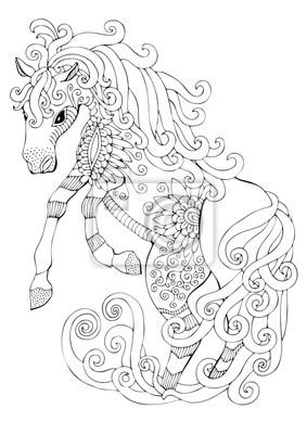 Coloriage Cheval Zen.Sticker Cheval Romantique Image Dessinee A La Main Croquis Pour Livre