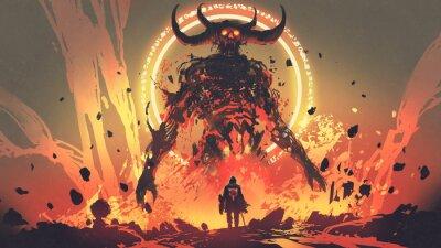 Sticker chevalier avec une épée face au démon de lave en enfer, style, art numérique, peinture d'illustration