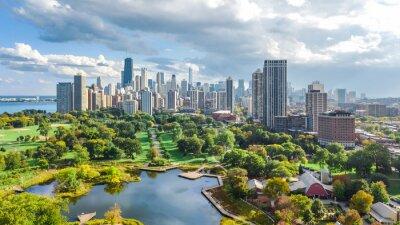 Sticker Chicago, horizon, drone aérien, vue, d'en haut, lac, michigan, et, ville, de, gratte-ciel, centre-ville de Chicago, paysage urbain, de, Lincoln, parc, illinois, usa