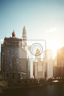 Chicago River et le centre-ville de Chicago, États-Unis