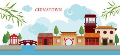 Sticker Chinatown, Bâtiment et parc, Voyage, Petite ville, Culture traditionnelle