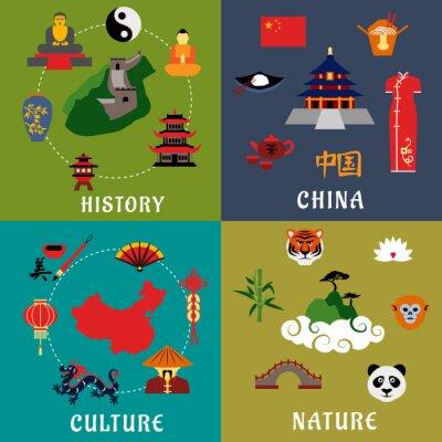 Sticker Chine Histoire, culture et nature icônes