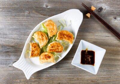 Sticker Chinois, frit, dumplings, plat, trempette, sauce, prêt, manger
