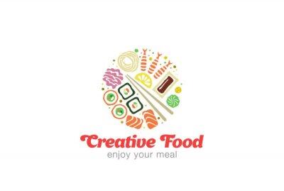 Sticker Chinois Japonais Sushi Sashimi Fruits de mer Logo design.