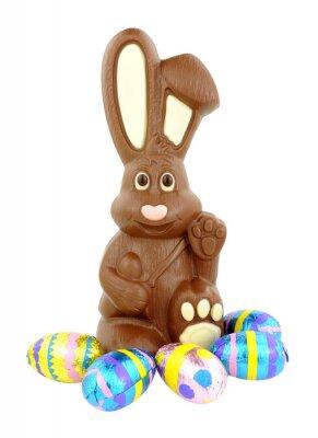 Sticker Chocolat, Pâques, lapin, oeufs