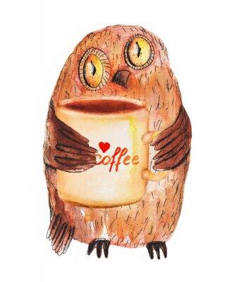 Sticker Chouette avec tasse de café. dessin à la main d'aquarelle