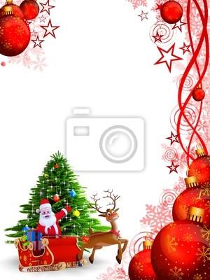 christmas santa avec ree et fond rouge