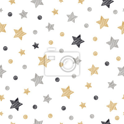 Sticker christmas stars dots seamless pattern scribble drawing isolated background