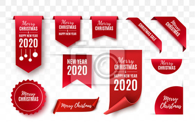 Sticker Christmas Tags set. Red scrolls and banners isolated. Merry Christmas and Happy New Year labels. Vector illustration
