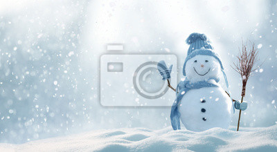 Sticker Christmas winter background with snow and blurred bokeh.Merry christmas and happy new year greeting card with copy-space.