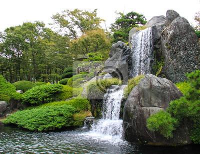 Chute d'eau dans le jardin japonais