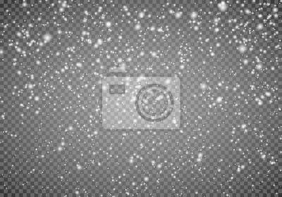 Sticker Chutes de neige sur un fond transparent. Fond de flocon de neige abstraite. Chute de neige Illustrateur de vecteur 10 EPS.