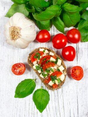 Sticker Ciabatta pain avec tomates, mozzarella et basilic.