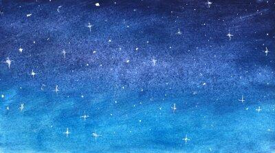 Sticker Ciel étoilé bleu à l'aquarelle