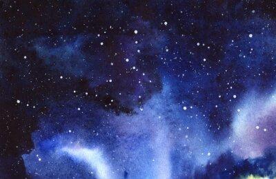 Sticker Ciel étoilé de la nuit. Dessinés à la main sur un papier humide illustration réelle aquarelle.