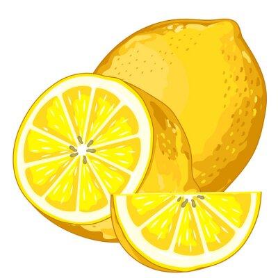 Sticker Citron isolé sur fond blanc.