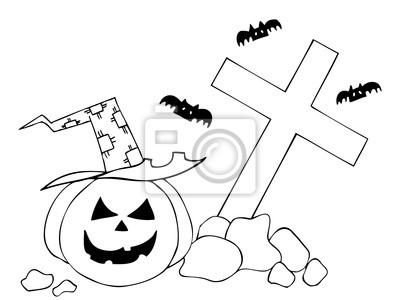 Sticker Citrouille Dhalloween Sur Le Cimetière Dessin à La Main Illustration